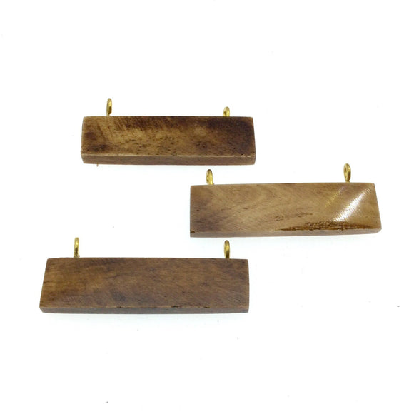 Brown Horizontal Rectangle Shaped Natural Bone Focal Pendant- 14mm x 50mm Approximately - Sold Individually