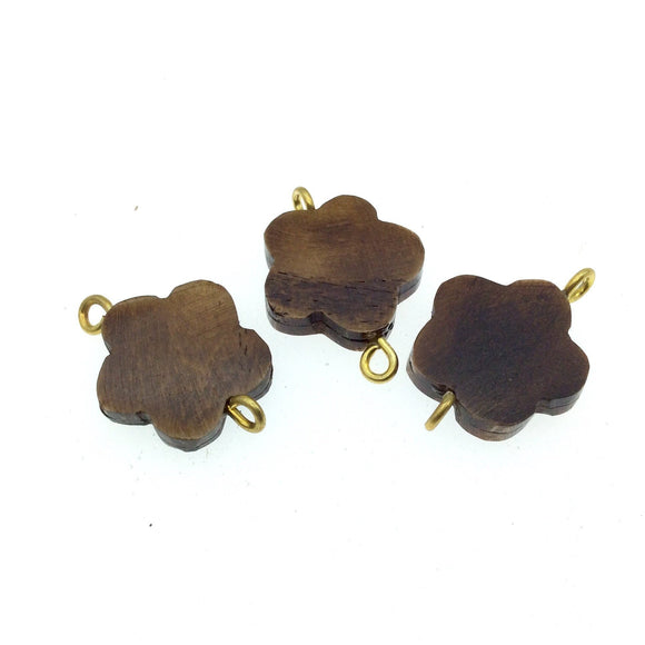 Brown Flower Shaped Natural Bone Focal Connector - 20mm x 20mm Approximately - Sold Individually