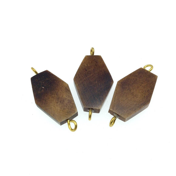 Brown Hexagon Shaped Natural Bone Focal Connector - 18mm x 29mm Approximately - Sold Individually