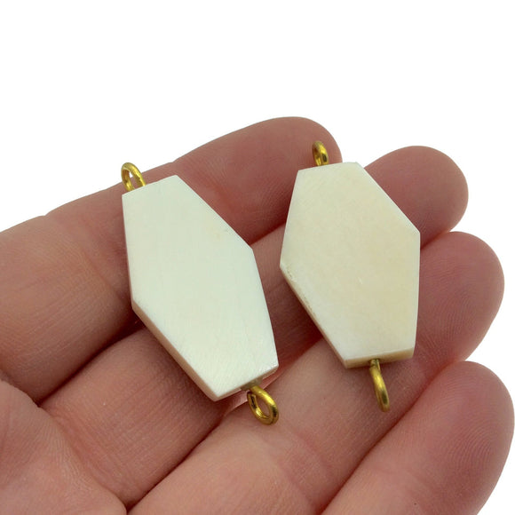 White/Ivory Hexagon Shaped Natural Bone Focal Connector - 18mm x 29mm Approximately - Sold Individually