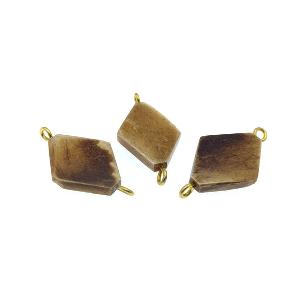 Brown Flattened Diamond Shaped Natural Bone Focal Connector - 20mm x 28mm Approximately - Sold Individually