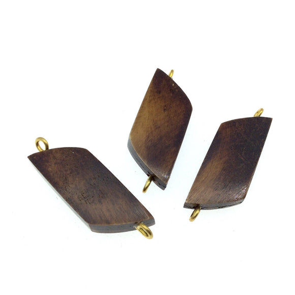 Brown Wavy Rectangle Shaped Natural Bone Focal Connector - 15mm x 40mm Approximately - Sold Individually