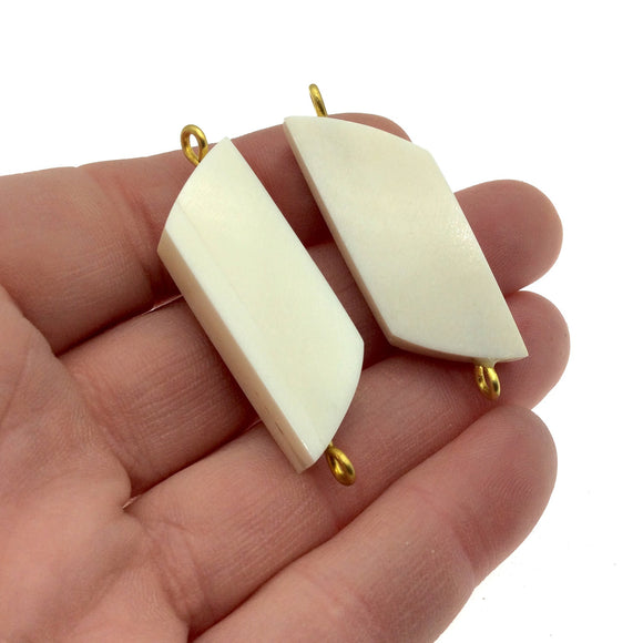 White/Ivory Wavy Rectangle Shaped Natural Bone Focal Connector - 15mm x 40mm Approximately - Sold Individually