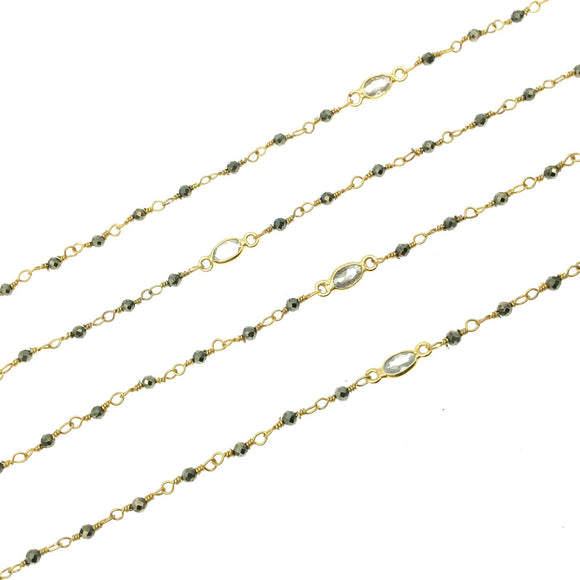 Gold Plated Copper Rosary Chain with 2mm Pyrite Beads and 5mm Clear Hyrdro Quartz Marquise Bezels  - Sold by the Foot, or in Bulk!