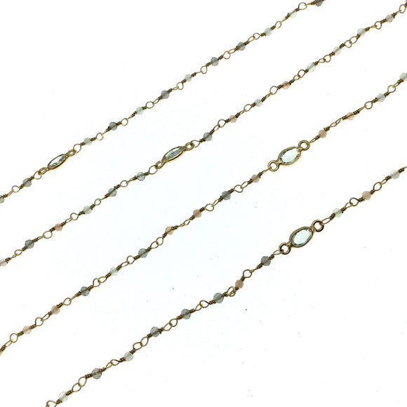 Gold Plated Copper Rosary Chain with 2mm Mixed Moonstone Beads and 5mm Clear Hyrdro Quartz Marquise Bezels  - Sold by the Foot