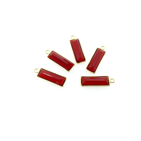 Gold Vermeil Faceted Cut Stone Rectangle Shaped Deep Red (Lab Created) Quartz Bezel Pendant- Measuring 5mm x 15mm - Sold Per Piece
