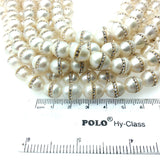 10mm x 13mm Rhinestone Hemisphere White Pearl Potato Shaped Beads - Sold in Packs of Six (6) - Natural Semi-Precious Loose Gemstone