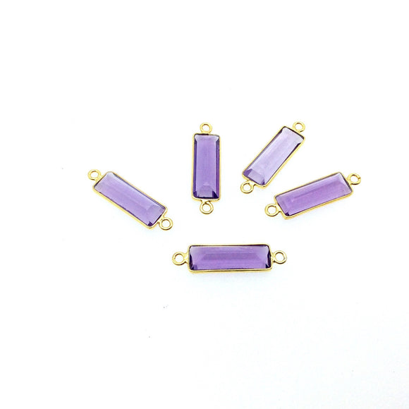 Gold Vermeil Faceted Cut Stone Rectangle Shaped Purple Hydro (Lab Created) Quartz Bezel Connector- Measuring 5mm x 15mm - Sold Per Piece