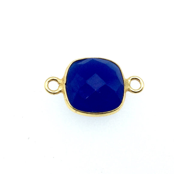 Gold Finish Faceted Cobalt Blue Square Shaped Bezel Two Ring Connector Component - Measuring 10mm x 10mm - Natural Gemstone