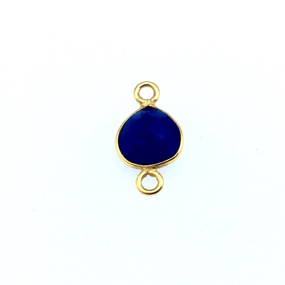 Gold Finish Faceted Cobalt Chalcedony Heart/Teardrop Shaped Bezel Connector Component - Measuring 8mm x 8mm - Natural Semi-precious Gemstone
