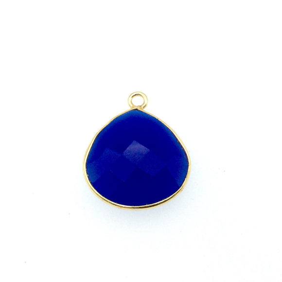 Gold Finish Faceted Cobalt Blue Chalcedony Heart/Teardrop Shaped Bezel Pendant Component - Measuring 18mm x 18mm - Natural Gemstone