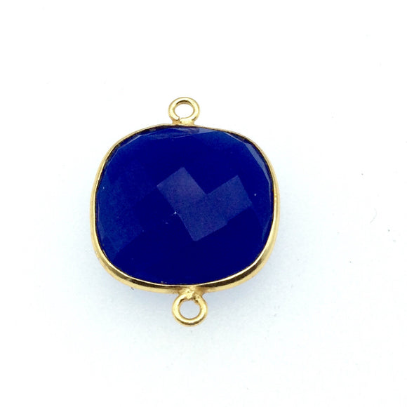 Gold Finish Faceted Cobalt Blue Square Shaped Bezel Two Ring Connector Component - Measuring 18mm x 18mm - Natural Gemstone