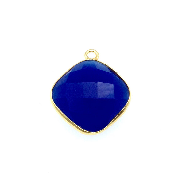 Gold Finish Faceted Cobalt Blue Chalcedony Diamond Shaped Bezel Pendant Component - Measuring 15mm x 15mm - Natural Gemstone