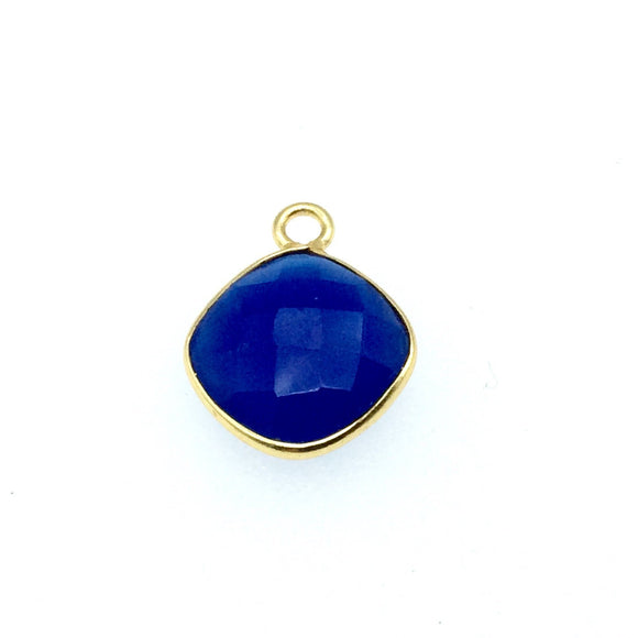 Gold Finish Faceted Cobalt Blue Diamond Shaped Bezel Two Ring Connector Component - Measuring 10mm x 10mm - Natural Gemstone
