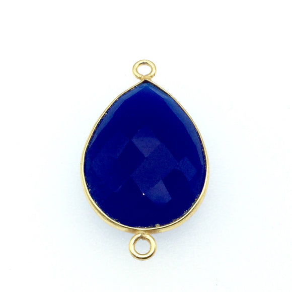 Gold Finish Faceted Cobalt Blue Pear/Teardrop Shaped Bezel Two Ring Connector Component - Measuring 18mm x 24mm - Natural Gemstone