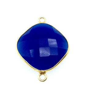 Gold Finish Faceted Cobalt Blue Diamond Shaped Bezel Two Ring Connector Component - Measuring 18mm x 18mm - Natural Gemstone