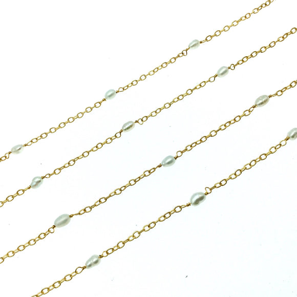 Gold Plated Copper Rosary Chain with Spaced 5mm Freshwater Pearl Rice Beads - Sold by the Foot! - Natural Semi-Precious Beaded Chain