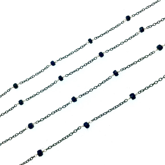 Gunmetal Plated Copper Rosary Chain with Silver Linked Faceted 3-4mm Rondelle Shape Blue Sapphire Beads - Natural Gemstone - Sold Per Foot