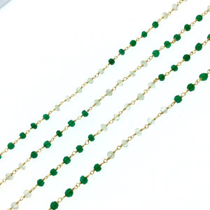 Gold Plated Copper Wrapped Rosary Chain with 3mm Faceted Natural Emerald Green Onyx + Prehnite Rondelle Beads - Sold by 1' Cut Sections!