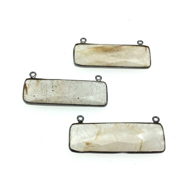 Gunmetal Plated Faceted Gold Rutilated Quartz Rectangle/Bar Shaped Bezel Connector - ~ 12mm x 40mm - Sold Individually, Chosen Randomly
