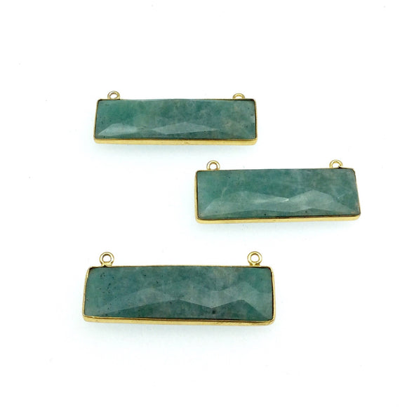 Gold Plated Faceted Amazonite Rectangle/Bar Shaped Bezel Connector - ~ 12mm x 40mm - Sold Individually, Chosen Randomly