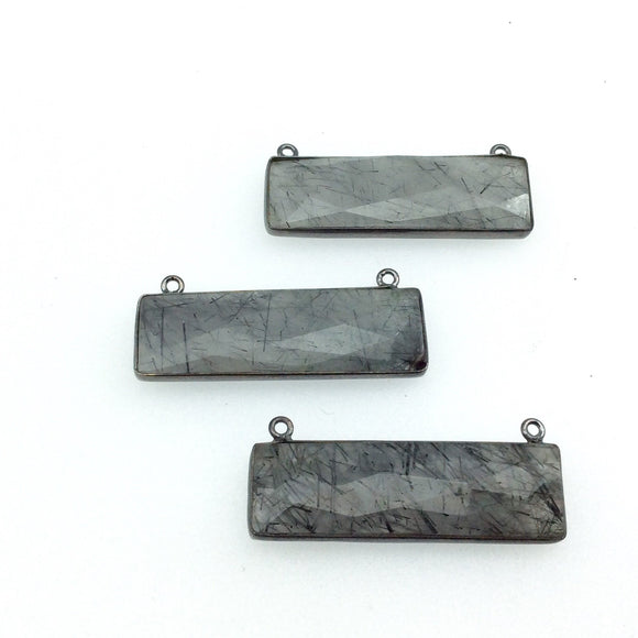 Gunmetal Plated Faceted Black Rutilated Quartz Rectangle/Bar Shaped Bezel Connector - ~ 12mm x 40mm - Sold Individually, Chosen Randomly