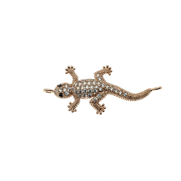 Rose Gold Plated CZ Cubic Zirconia Lizard Shaped Copper Connector - Measures 30mm, Approx.  - Sold Individually, RANDOM
