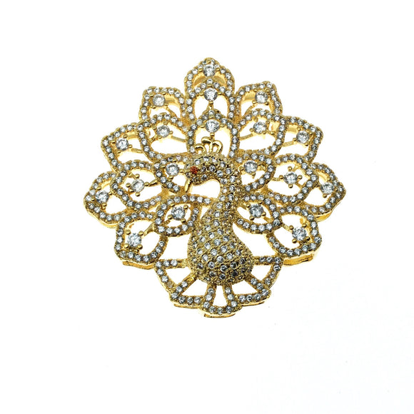 Gold Plated CZ Cubic Zirconia Inlaid Fancy Peacock Copper Slider - Measures 40mm x 40mm, Approx. - Sold Individually, RANDOM