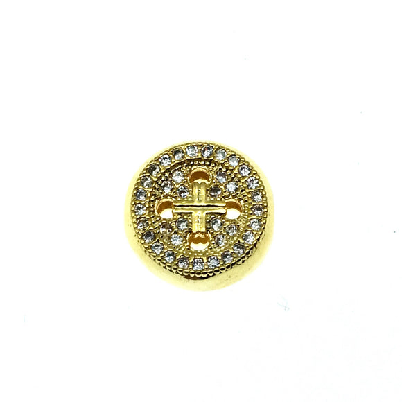 Gold Plated CZ Cubic Zirconia Round Button Shaped Copper Bead - Measures 10mm.  - Sold Individually, RANDOM