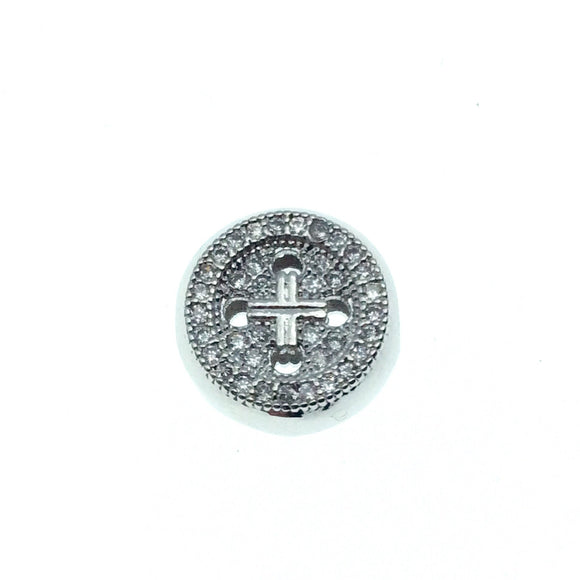 Silver Plated CZ Cubic Zirconia Round Button Shaped Copper Bead - Measures 10mm.  - Sold Individually, RANDOM