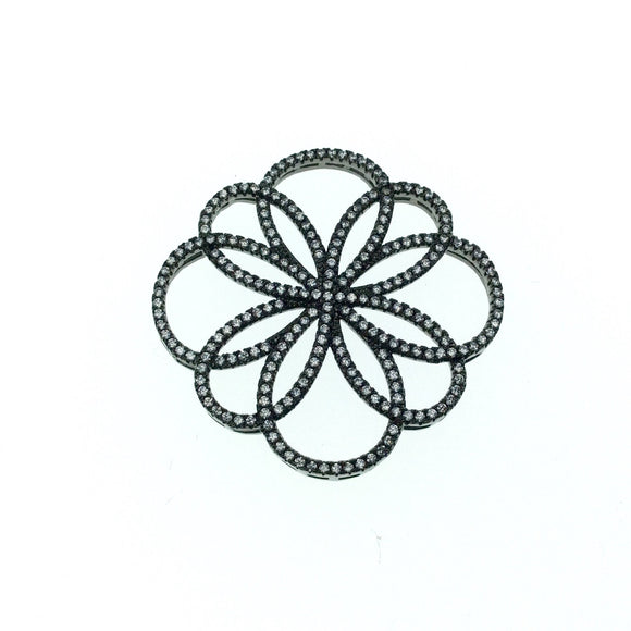Gunmetal Plated CZ Cubic Zirconia Flower of Life Shaped Copper Connector - Measures 36mm x 36mm  - Sold Individually, RANDOM