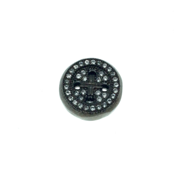 Gunmetal Plated CZ Cubic Zirconia Round Button Shaped Copper Bead - Measures 10mm.  - Sold Individually, RANDOM