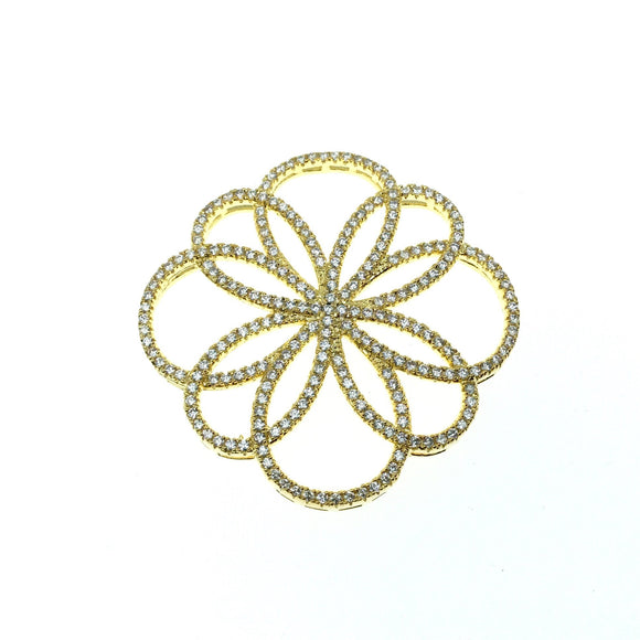 Gold Plated CZ Cubic Zirconia Flower of Life Shaped Copper Connector - Measures 36mm x 36mm  - Sold Individually, RANDOM