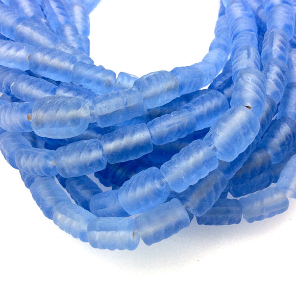 18mm x 22mm Matte Sky Blue Spiral Textured Barrel Shaped Indian Beach/Sea Beadlanta Glass Beads - Sold by 15