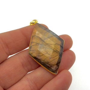 "OOAK Gold Plated Faceted Flat Back Labradorite Diamond  Bezel Pendant ""LD2""- Measures 30mm x 45mm Approx. - Natural Gemstone"