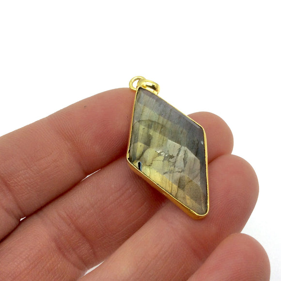 "OOAK Gold Plated Faceted Flat Back Labradorite Diamond  Bezel Pendant ""LD15""- Measures 18mm x 33mm Approx. - Natural Gemstone"