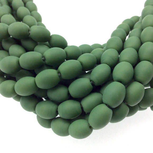 8mm x 10mm Matte Deep Green Oval Shaped Indian Beach/Sea Beadlanta Glass Beads - Sold by 15