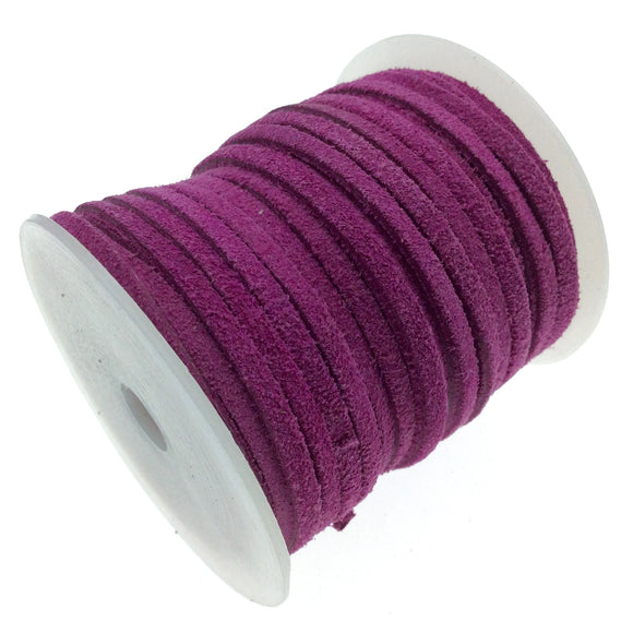 FULL SPOOL - Matte Magenta Pink Beadlanta Suede Leather Cord - Measuring 3mm - 25 yards per spool - Flat Jewelry Cord