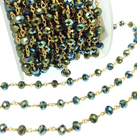 Silver Plated Copper Rosary Chain with 6mm Faceted Opaque AB Metallic Pine Green Glass Crystal Beads - Sold by the Foot! - Beaded Chain