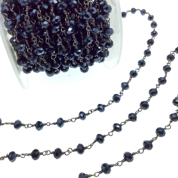 Gunmetal Plated Copper Rosary Chain with 6mm Faceted Opaque AB Metallic Jet Black Glass Crystal Beads - Sold by the Foot! - Beaded Chain