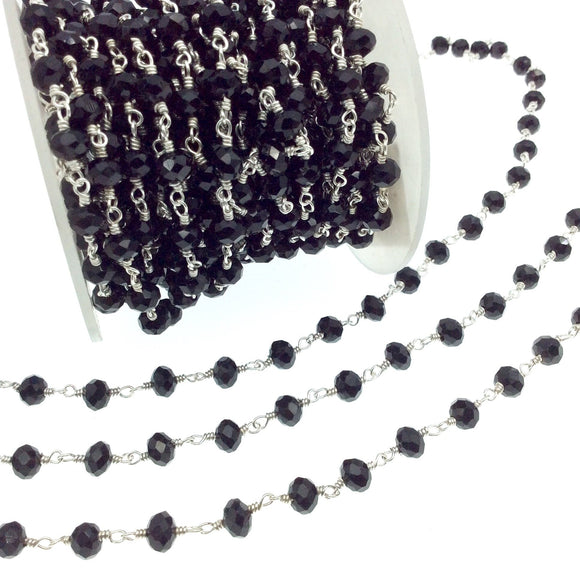 Silver Plated Copper Rosary Chain with 6mm Faceted Opaque Black Glass Crystal Beads - Sold by the Foot! - Beaded Chain