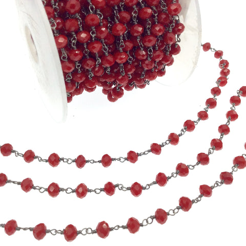 Gunmetal Plated Copper Rosary Chain with 6mm Faceted Opaque Lipstick Red Glass Crystal Beads - Sold by the Foot! - Beaded Chain