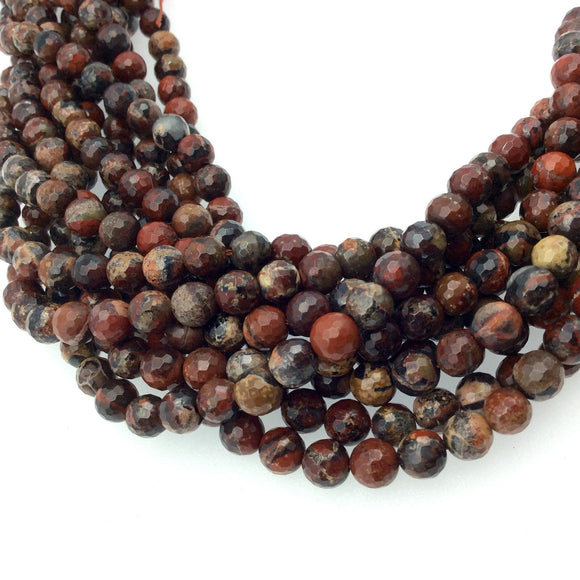 6mm Faceted Mixed Red Poppy Jasper Round/Ball Shaped Beads - Sold by 15.5