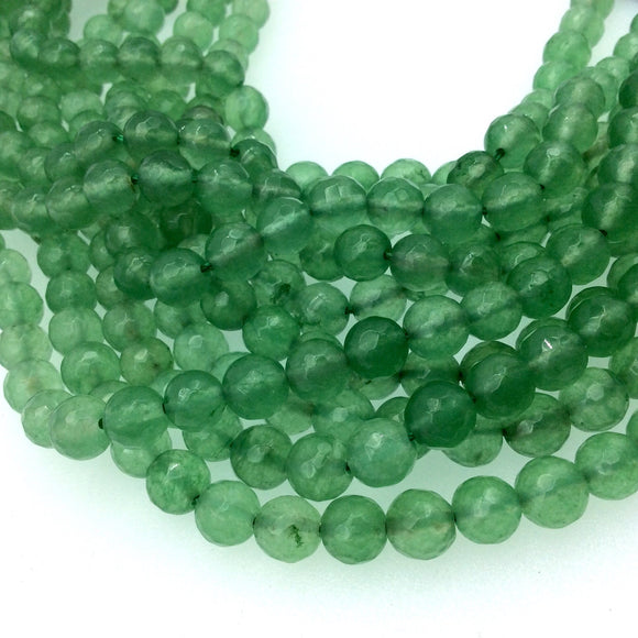 8mm Faceted Dyed Sage Green Agate Round/Ball Shape Beads with 1mm Holes - Sold by 15