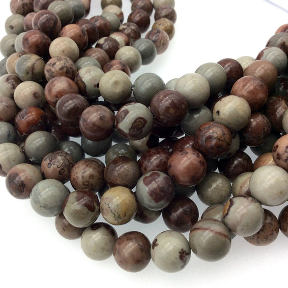 10mm Glossy Natural Owyhee Jasper Round/Ball Shaped Beads with 1mm Holes - Sold by 15.25