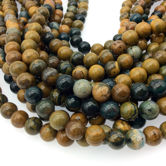 12mm Natural Ocean Jasper Round/Ball Shaped Beads - Sold by 15.5