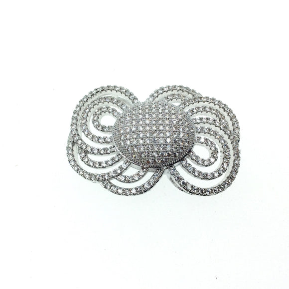 Silver Plated CZ Cubic Zirconia Inlaid Ornate Bow Shaped Copper Slider - Measures 25mm x 35mm, Approx.  - Sold Individually, RANDOM