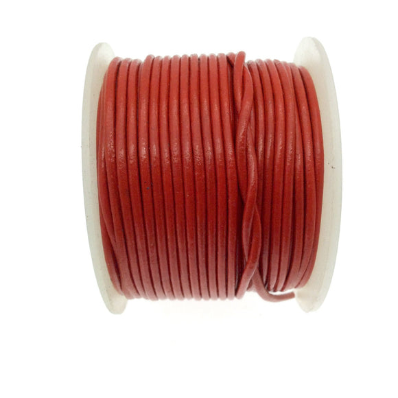 FULL SPOOL - Bright Red Beadlanta Leather Cord - Measuring 1.5mm - 25 yards per spool - Round Leather Jewelry Cord