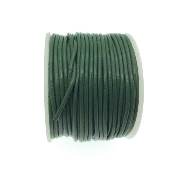 FULL SPOOL - Green Beadlanta Leather Cord - Measuring 1.5mm - 25 yards per spool - Round Leather Jewelry Cord