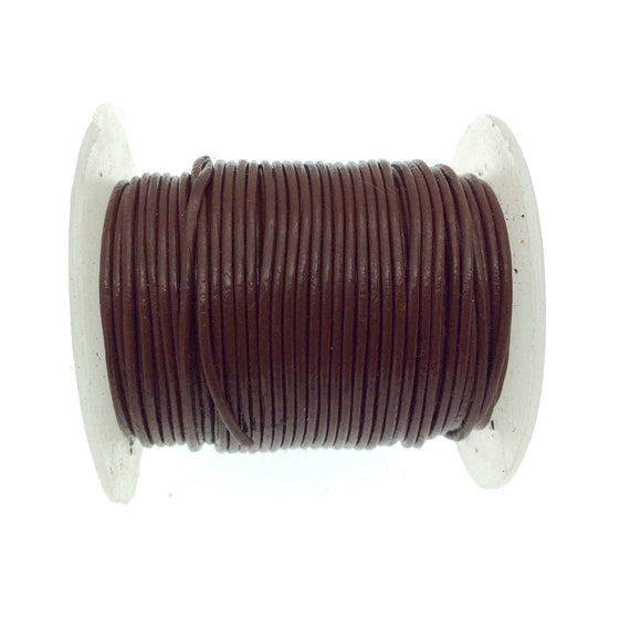 FULL SPOOL - Brown Beadlanta Leather Cord - Measuring .5mm - 25 yards per spool - Round Leather Jewelry Cord